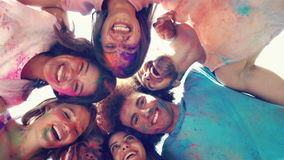 In high quality format happy friends covered in powder paint stock footage