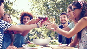 In high quality format happy friends in the park having lunch stock footage
