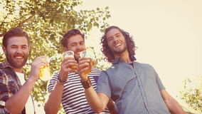In high quality format hipster friends having a beer together. On a summers day stock video footage
