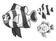 High Quality Four Stripe Damselfish Cartoon Character Include Flat Design and Line Art Version Royalty Free Stock Photo