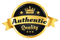 High Quality Golden Badge. Authentic, premium quality, guarantee badge Royalty Free Stock Photo