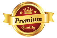 High Quality Golden Badge. Authentic, premium quality, guarantee badge Royalty Free Stock Photos