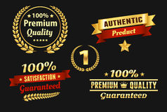 High Quality Golden Badge. Authentic, premium quality, guarantee badge Royalty Free Stock Images