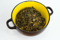 High Quality Green Tea closeup in the yellow bowl Royalty Free Stock Photos