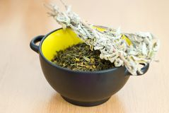 High Quality Green Tea closeup in the yellow bowl Royalty Free Stock Image