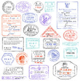 High Quality grunge Passport Stamp collection Stock Image