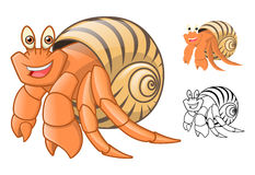 High Quality Hermit Crab Cartoon Character Include Flat Design and Line Art Version. Detailed Hermit Crab Cartoon Character Include Flat Design and Line Art Stock Photography