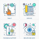 Technology icons and concepts illustrations vector illustration