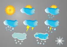 High quality icon set relating to weather Royalty Free Stock Images