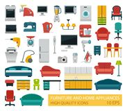 High quality icons of home appliances and furniture royalty free illustration