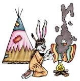 High quality Illustration of bunny indian mascot, cover, background, wallpaper royalty free illustration