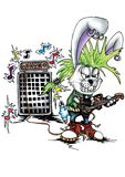 High quality Illustration of bunny rabbit punk musician mascot, cover, background, wallpaper royalty free illustration