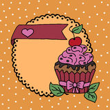 High quality illustration of cake with cherry and heart Stock Photos