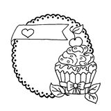 High quality illustration of cake with cherry and heart Stock Image