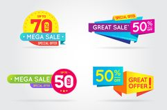 Set of Sale Sign Banner Poster ready for Web and Print. Vector. Stock Image