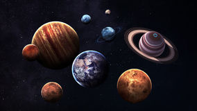 High quality isolated solar system planets Stock Images