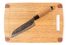 High quality japanese chef knife on cutting board Stock Photography