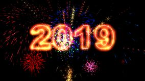 High quality 2019 New Year animation. High quality 4k 2019 New Year animation stock footage