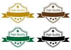High quality label color set. High quality label, vector color set on white background Stock Photo