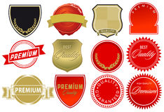 High quality label elements. Illustrations of high quality label elements on a white background Stock Photography