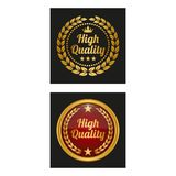 High quality labels with laurel wreath in two versions. stock illustration