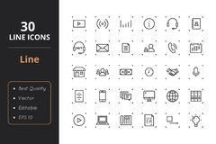 30 Line Icons. High quality  line icons. Icons for user interfaces and web Royalty Free Stock Image