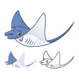High Quality Manta Ray Cartoon Character Include Flat Design and Line Art Version Royalty Free Stock Images