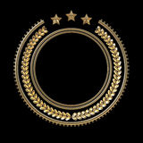 High quality metal badge template with laurel wreath and stars, Royalty Free Stock Image