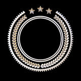 High quality metal badge template with laurel wreath and stars, Royalty Free Stock Photo