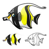 High Quality Moorish Idol Cartoon Character Include Flat Design and Line Art Version Royalty Free Stock Image