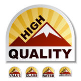 High quality mountain stickers. High quality value class rated addictive mountain stickers - illustration for the web Stock Photo