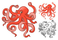 High Quality Octopus Cartoon Character Include Flat Design and Line Art Version stock images