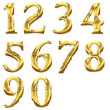 High quality old shining numbers. Isolated on a white background Stock Image
