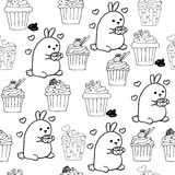 High quality original cute bunny seamless pattern with coffee an Stock Photography