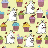 High quality original cute bunny seamless pattern with coffee an Royalty Free Stock Photography