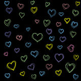High quality original hand drawn Pattern with colored hearts  Stock Photos