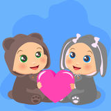 High quality original trendy vector illustration of Two baby Stock Images