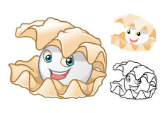 High Quality Pearl Shell Cartoon Character Include Flat Design and Line Art Version royalty free stock photos
