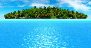 High quality perfectly fly on sea ocean waves movement in sunny day with sea land island in background stock footage