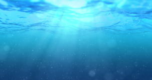 High quality perfectly seamless loop of deep blue ocean waves from underwater background with micro particles flowing. Light rays shining through stock video