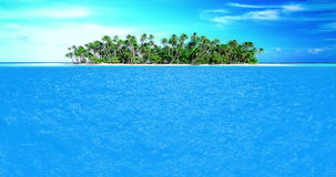 High quality perfectly seamless loop of sea ocean waves movement in sunny day with sea land island in background stock footage