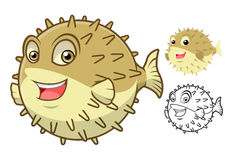 High Quality Puffer Fish Cartoon Character Include Flat Design and Line Art Version Stock Photos