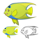 High Quality Queen Angel Fish Cartoon Character Include Flat Design and Line Art Version Royalty Free Stock Photo