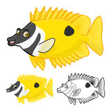 High Quality Rabbitfish Cartoon Character Include Flat Design and Line Art Version stock photography