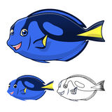 High Quality Regal Blue Tang Cartoon Character Include Flat Design and Line Art Version stock photos
