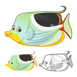 High Quality Saddle Butterflyfish Cartoon Character Include Flat Design and Line Art Version Royalty Free Stock Photo