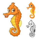 High Quality Sea Horse Cartoon Character Include Flat Design and Line Art Version Royalty Free Stock Images