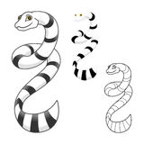 High Quality Sea Snake Cartoon Character Include Flat Design and Line Art Version stock images