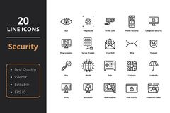 20 High quality security line icons. Icons for web and user interface Stock Illustration