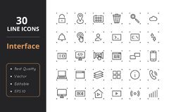 30 User Interface Line Icons. High quality set interface line icons. Icons for user interfaces and web Royalty Free Stock Photos